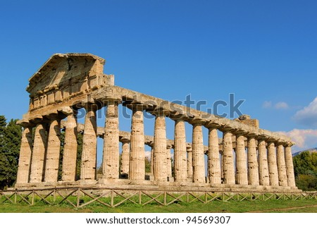 A view of Paestum Temple, Salerno, Italy
