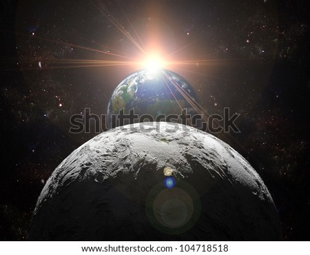 A view of planet earth, moon and sun. Abstract background of distant regions. New Age in the far travel and use of solar energy. Planet earth is a picture from NASA. - stock photo