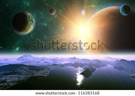 A view of planet. moons and the universe from the earth surface. Abstract illustration of distant regions. - stock photo