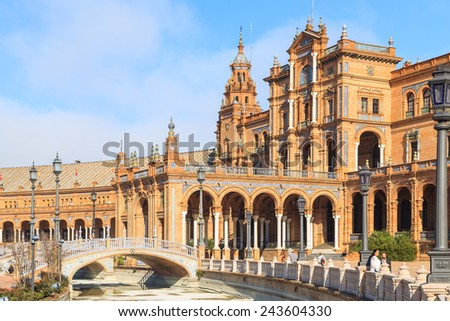 A view of Plaza de Espana in Seville, Spain