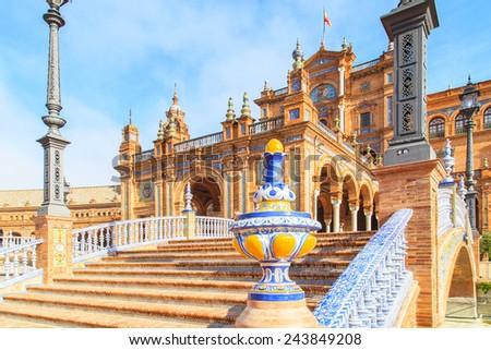 A view of Plaza de Espana in Seville, Spain - stock photo