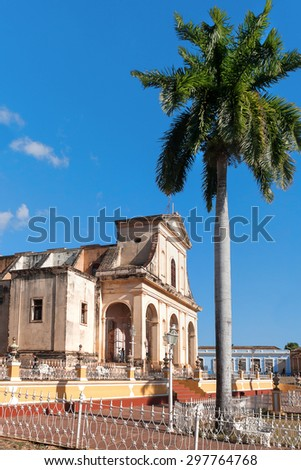A view of Plaza Mayor with Santisima church in Trinidad, Cuba. UNESCO World Heritage Site. - stock photo