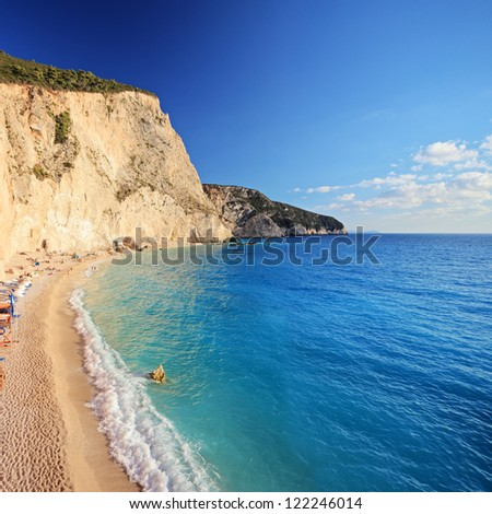 A view of Porto Katsiki beach at Lefkada island, Greece, shot with a tilt and shift lens - stock photo