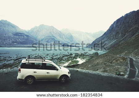 A view of river and mountain ranges in Nubra Valley, Ladakh, North India in soft natural filter