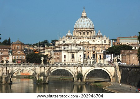 A view of Rome and its Tiber River - 396 - stock photo