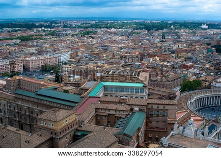 A view of Rome from the top of Saint Peter's Basilica in Vatican - stock photo
