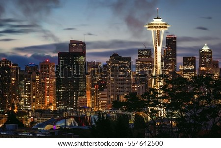 A view of Seattle Skyline at night