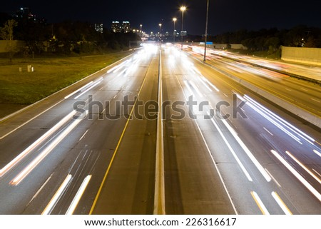 A view of Short Light trails on a highway