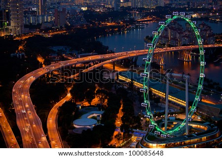 A view of Singapore, in the night time - stock photo