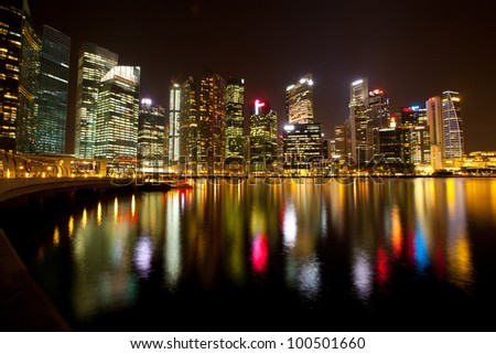 A view of Singapore, in the night time