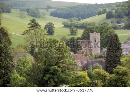 A view of Singleton a small historic village in West Sussex amid the south downs in England