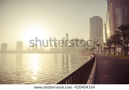 A view of skyline of Sharjah, UAE in the morning. - stock photo