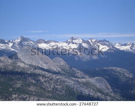 A View of Snow-Capped Mountains in Yosemite National Park, CA