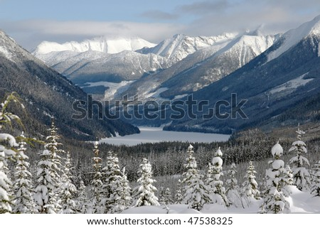 A view of snow mountain in bc, canada - stock photo