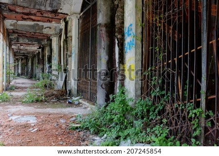 a view of some ruin and abandoned house - stock photo