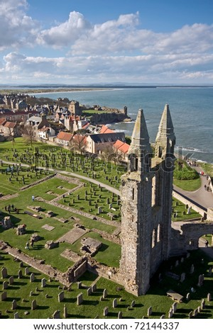 A view of St Andrews, Scotland, with the east gable of the ruined cathedral in the foreground. - stock photo