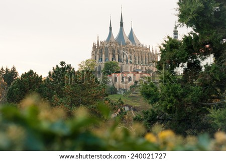 A view of St. Barbara's church in Kutna Hora, Czech Republic with copyspace