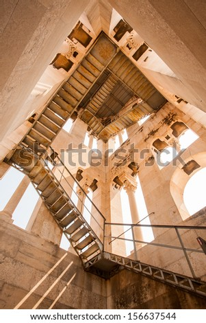 A view of stairs in the Bell Tower of the Saint Domnius cathedral in Split, Croatia