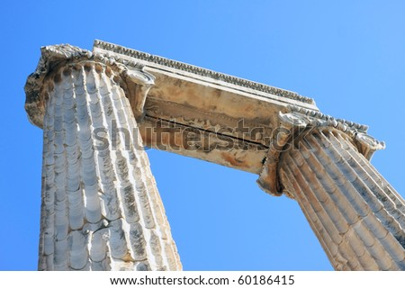 A view of Temple of Apollo in antique city of Didyma, Aydin