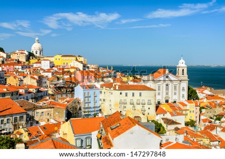 A view of the Alfama downtown in Lisbon, Portugal - stock photo