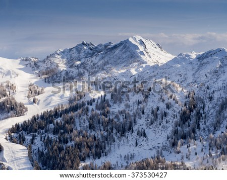 A view of the Alpine landscape in the winter season in Nassfeld