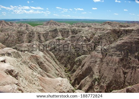 A view of the Badlands in South Dakota. - stock photo