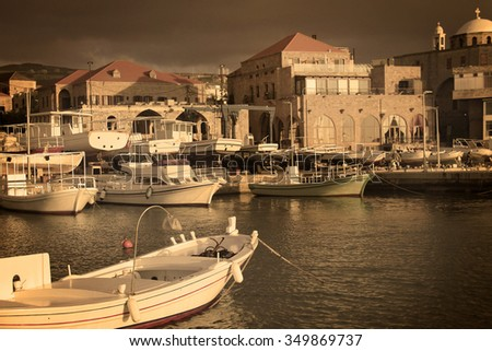 A view of the Batroun's fishing port, a Lebanese coastal town, in the afternoon.