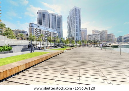 A view of the beautiful Marina in Zaitunay Bay in Beirut, Lebanon. A very modern, high end and newly developed area of Beirut, since 2011. - stock photo