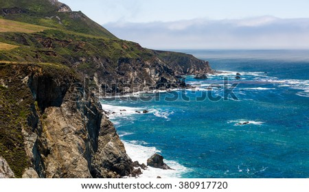 A View of the California Coastline along State Road 1 - stock photo