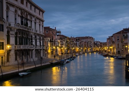 A view of the Canale di Cannaregio (Venice) at dusk.