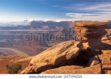 A view of the canyon from Deadhorse Point State Park in Utah - stock photo