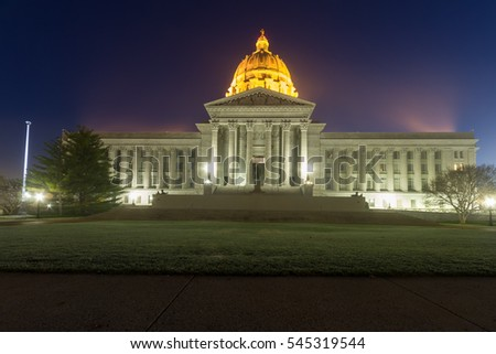 A view of the Capital building in Jefferson City, Missouri at early morning dawn.