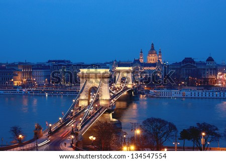 A view of the Chain Bridge in downtown Budapest - stock photo