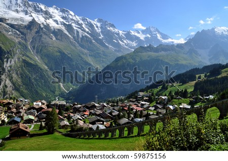 A view of the charming village of  Murren in Switzerland - stock photo