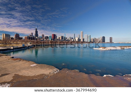 A view of the Chicago Skyline taken from across the harbor.