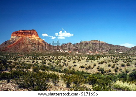 A view of the Chisos Mountains in big Bend National Park. - stock photo