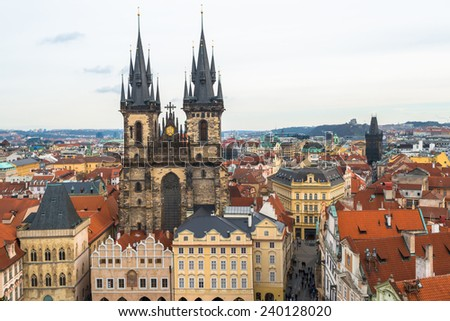 A view of the Church of Virgin Maria Before Tyn and rooftops of Prague, Czech republic - stock photo