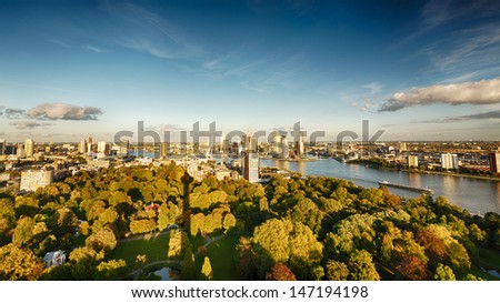 A view of the city of Rotterdam showing the central and business area of the city, as well as the Maas (Meuse) river. - stock photo