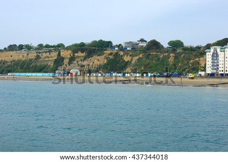 A view of the cliffs and beach at Sandown on the Isle of Wight - stock photo