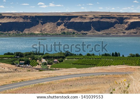 A view of the Columbia River with a green vineyard and road on the Washington side and a highway and steep embankment on the Oregon side.