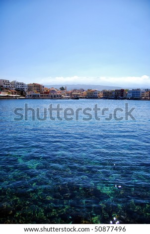 A view of the cretan sea and greek port of Chania on the island of Crete.