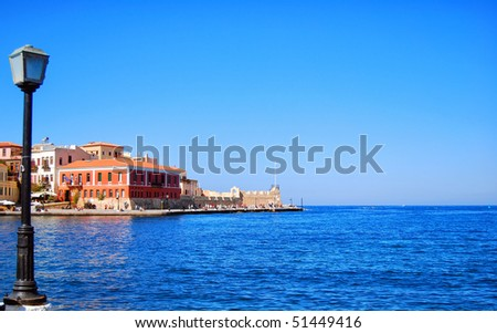 A view of the cretan sea and greek port of Chania on the island of Crete. - stock photo