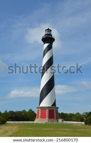 A view of the famous lighthouse at Cape Hatteras - stock photo