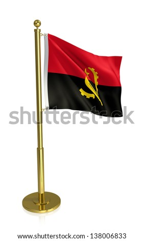 A view of the flag of Angola, isolated on white with clipping path.
