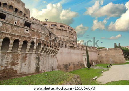 A view of the fortress of Castel Santangelo in Rome - Italy