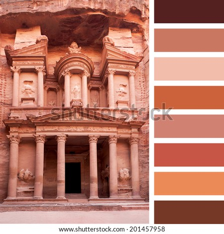 A view of the front facade of The Treasury, Petra, Jordan, in a colour palette with complimentary colour swatches - stock photo