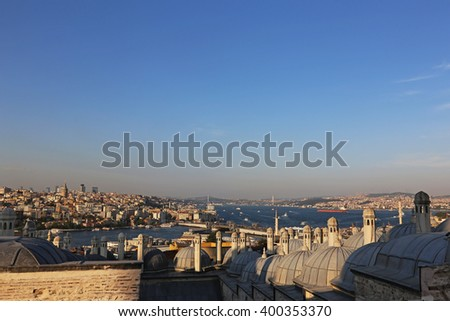 A view of the Golden Horn and the Bosphorus, divided by the Galata bridge in Istanbul, Turkey.  - stock photo