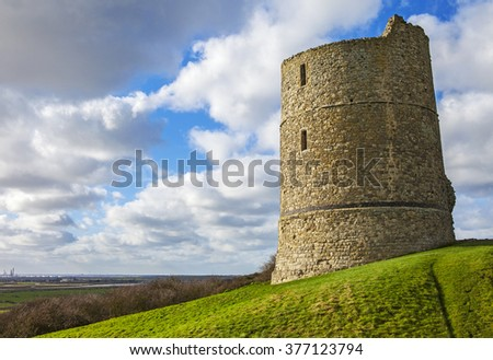 A view of the historic remains of Hadleigh Castle in Essex, England. - stock photo