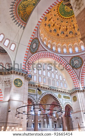 A view of the interior of the Suleiman mosque situated in the Turkish city of Istanbul. - stock photo
