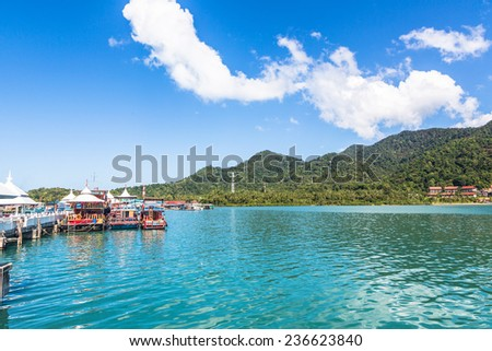 A view of the jetty in Koh Chang, an idyllic island in Thailand near the border with Cambodia in the gulf of Thailand - stock photo